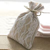 1/10/50/100 Burlap Lace Gift Bags w/Twine 8x12cm Wedding Favor Jewelry Pouch UK