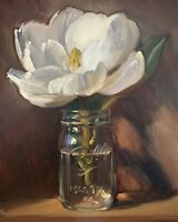 """Magnolia in Mason Jar"" NOAH VERRIER Still life oil painting, Signed art print"