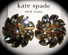 NWT Kate Spade NY SPARKLES Glitter Gala Pinwheel Flower Stud Earrings Clear Gold