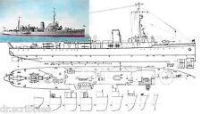 "Model Boat PLANS Scale 1/72 39"" Mindsweeper H.M.S. SALTASH Suitable for R/C"