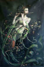 """Hnadpainted Oil painting portrait Dunhuang flying playing flute canvas 24""""x36"""""""