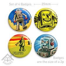 "Vintage Toy Robot Tinplate Badge -1"" Badge x4 Badges NEW - Set 3"