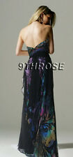 SWEET HEART NECK FLORAL PRINTS BLACK BEADED FORMAL/PROM/EVENING GOWN AU 14/US 12
