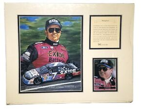 1994 Geoff Bodine Exide Batteries Matted NASCAR Lithograph Art Print Photo #581