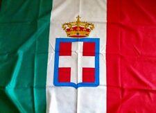 BANDIERA ITALIANA SAVOIA-MONARCHIA-Tricolore Verde, Bianco E Rosso Con STEMMA