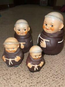 Goebel Monk Porcelain Set 1950 Friar Tuck West Germany Hummel Ceramic Signed Vtg