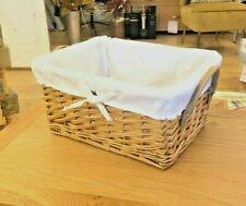 Wicker Storage Basket With Lining, Gift Hamper, Christmas, Bathroom, Kitchen