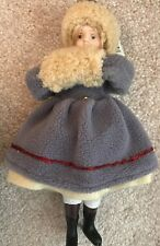 """Porcelain Doll Collectible Ornament Ice Skater Approx 7.5"""" Tall"""