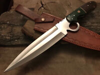 CUSTOM HANDMADE D2 TOOL STEEL FULL TANG DAGGER BOWIE KNIFE WITH LEATHER SHEATH