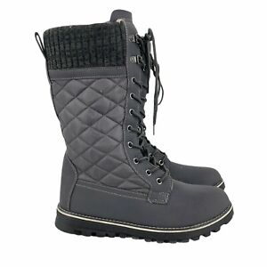 Women's Faux Fur Thermal Calf Boots Grey Size 11 Rubber Sole