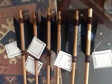 "2 Navajo Arrows 19"" MATCHING BLACK Turkey feathers-Bone carved arrowhead/Leather"