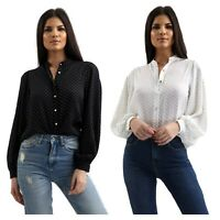 Womens Black White Polka Dot Balloon Long Sleeve Shirt Grandad Collar Ladies Top