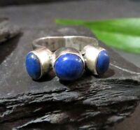 Schöner 925 Silber  Ring Lapislazuli Ultramarin Blau Natur Elegant Massiv Top