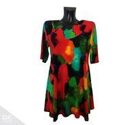 NEW JERSEY Kleid Tunika Sommer T-Shirt Ausschnitt Print Viskose Made in EU 097