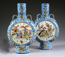 Unusual RARE DELFT marked Kocks Moonflask floral polychrome peacock Vases