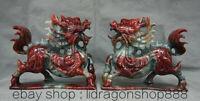 """8 """"Xiu Jade Rouge Feng Shui Kylin Qilin Bête Pièces Paire De Statue De Richesse"""