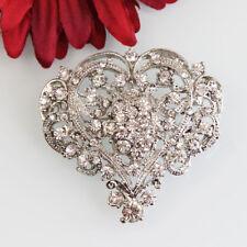 Rhinestone Crystal  Heart Silver Brooches Pins For Wedding Bridal Bouquet Decor