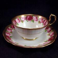 Royal Albert Red Roses Gilt Gold Trim Cup Saucer Vintage Porcelain