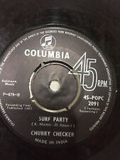 """CHUBBY CHECKER twist it up/surf party RARE SINGLE 7"""" 45 COLUMBIA INDIA VG+"""