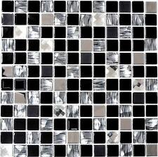 Glasmosaik Edelstahl schwarz Glas Wandverblender Küche WC  63-CM-426_f  10Matten