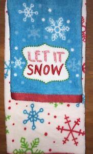 Embroidered 2 Pc Hand Towel  Wash Cloth Set Christmas Theme Snowflakes