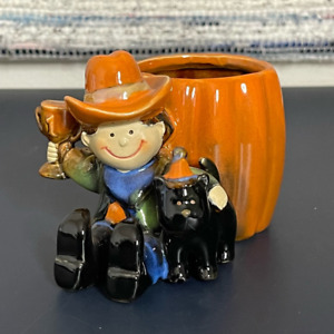 Yankee Candle Halloween Kids Cowboy Cat Candle Holder Orange Ceramic Votive