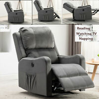 Electric Power Recliner Chair Sofa Armchair Padded Seat Suede Fabic W/ USB port