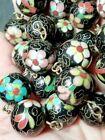Antique Chinese 15mm Large Cloisonne Floral Beads Auspicious Cloud Necklace