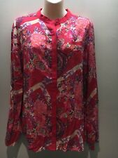 Next UK Red Floral Paisley Print Slinky Viscose Shirt Top Size UK16 Fit AU 14 16