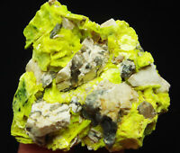 35g Terminated Yellow Green Autunite Crystal Cluster on Matrix Mineral Specimen