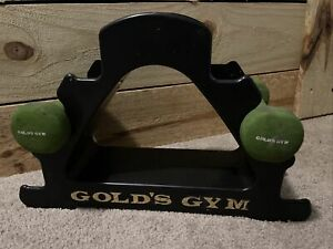 Gold's Gym Plastic Dumbbell Rack With 2 Green 3lb Weights Holds 3 Sets Vintage