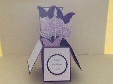 Handmade card Happy Birthday/ Personalised-butterflies & flowers pop up design