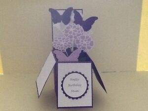 Handmade card Happy Birthday/ Personalised-butterflies & flowers pop up design