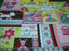 2 Yards Quilt Cotton Fabric - Henry Glass Girly Girl Fashion & Music Patch