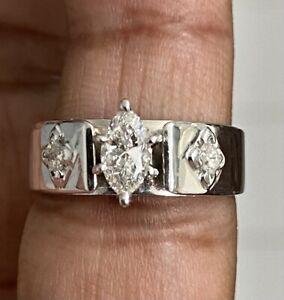 14k White Gold women's 0.52CTW Marquise Diamond Wedding Engagement Ring SZ6