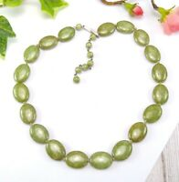 Vintage Mossy Green Oval Glass Bead Short Necklace