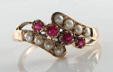 DIVINE 9CT 9K ROSE GOLD INDIAN RUBY PEARL ART DECO INS CROSSOVER RING FREE SIZE