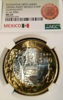 2006 MEXICO SILVER 100 PESOS S100P ESTADO DE GUANAJUATO NGC MS 65 TOP POP BEAUTY