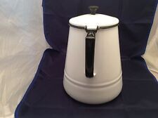 "Vintage Enamelware Coffee Pot 10.25"" tall   Whie with black trim Attached lid"
