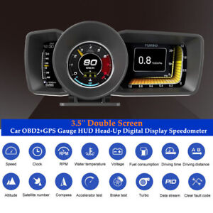 3.5'' Car OBD2+GPS Gauge HUD Head-Up Digital Display Speedometer Turbo RPM Alarm