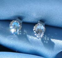 PETITE 5MM X 3MM  OVAL LIGHT BLUE AQUAMARINE EARRINGS IN .925 STERLING SILVER