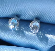 6MM X 4MM  OVAL LIGHT BLUE AQUAMARINE EARRINGS IN .925 STERLING SILVER