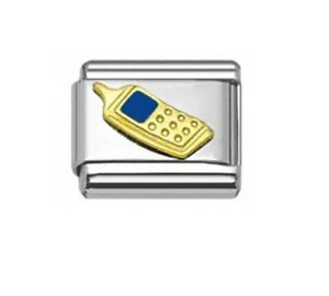 9mm Italian Charms  Cell Phone Mobile  Gold  E35   Fits Classic Size Bracelet