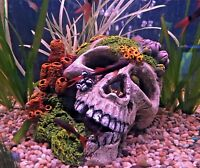 Large Skull & Corals Aquarium Fish Tank Ornament with Connected Air Stone  308