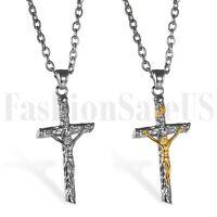 Men's Women's Stainless Steel Jesus Christ Crucifix Cross Pendant Necklace Chain