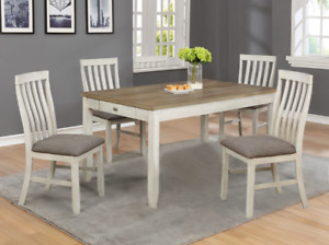 NEW Modern Rustic Transitional Chalk White Oak Dining Table 4 or 6 Chairs Set