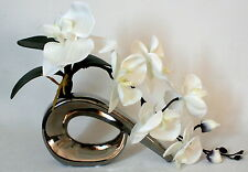 Artificial Silk Flowers Ivory Orchid Flower Stem Arrangement With Leaves in Vase
