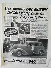 1936 Dodge Touring Sedan Car Gas Savings Paid Installment Original Ad