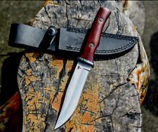 Clip Point Knife Hunting Combat Tactical Jungle Fixed Blade Wood Handle Sheath L