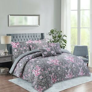 Rainbow Collection Luxury 7-Piece Floral Comforter Set Queen, King, Cal King